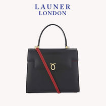Launer 2WAY Plain Leather Elegant Style Handbags