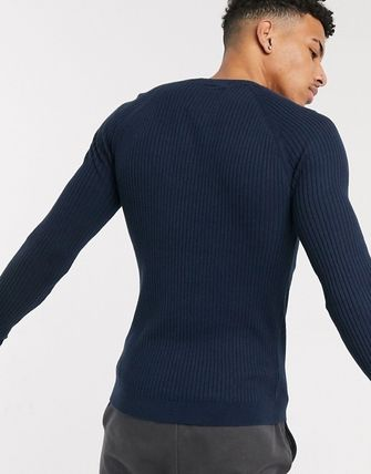 Crew Neck Pullovers Long Sleeves Cotton Sweaters
