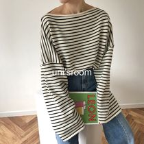 Stripes Casual Style Boat Neck Long Sleeves Medium Long