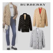 Burberry Monogram Casual Style Wool Cashmere Long Sleeves