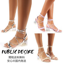PUBLIC DESIRE Open Toe Square Toe Round Toe Lace-up Casual Style