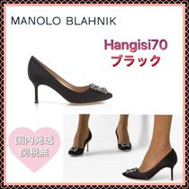 Manolo Blahnik Hangisi Plain Leather Pin Heels Party Style With Jewels