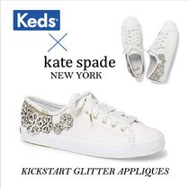kate spade new york Flower Patterns Casual Style Leather Logo Low-Top Sneakers