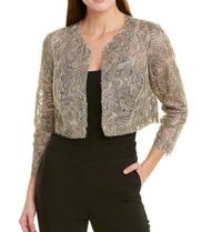 TADASHI SHOJI Short Flower Patterns Casual Style U-Neck Long Sleeves Plain