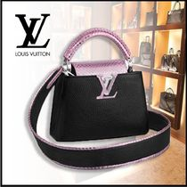 Louis Vuitton Calfskin 2WAY Plain Leather Party Style Office Style Python