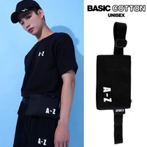BASIC COTTON Unisex Street Style Plain Shoulder Bags
