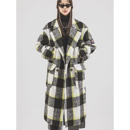 Gingham Unisex Tweed Street Style Long Trench Coats