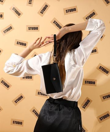 Unisex Street Style Plain Logo Long Wallets