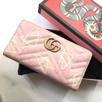 GUCCI Gucci Ghost Leather Long Wallet  Logo Long Wallets
