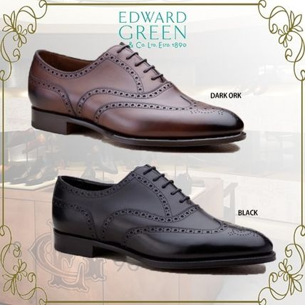 Wing Tip Plain Leather Oxfords