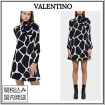 VALENTINO Short A-line Silk Bi-color Long Sleeves Party Style