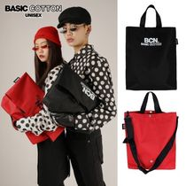 BASIC COTTON Casual Style Unisex Street Style A4 3WAY Plain Totes