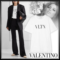 VALENTINO Crew Neck Short Street Style Long Sleeves Plain Cotton