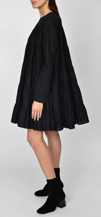 Casual Style A-line Flared Long Sleeves Plain Cotton Medium