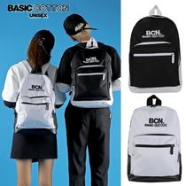 BASIC COTTON Casual Style Unisex Street Style A4 Plain Backpacks