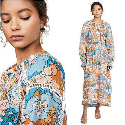 Flower Patterns Casual Style Maxi Long Elegant Style