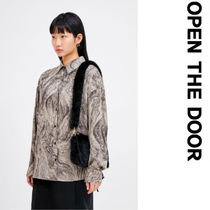 OPEN THE DOOR Street Style Long Sleeves Oversized Shirts & Blouses