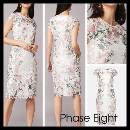 Flower Patterns Tight Medium Short Sleeves Party Style Lace