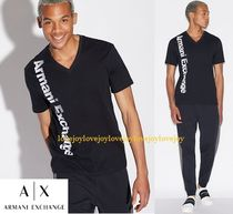 A/X Armani Exchange Street Style V-Neck Plain Cotton Short Sleeves