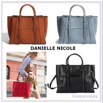 DANIELLE NICOLE Casual Style A4 2WAY Plain Leather Fringes Office Style