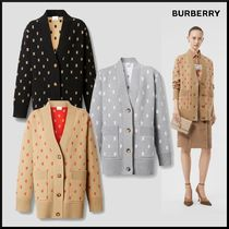 Burberry Casual Style Wool Cashmere Long Sleeves Elegant Style