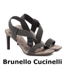 BRUNELLO CUCINELLI Open Toe Suede Blended Fabrics Plain Leather Party Style
