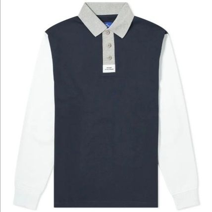 Pullovers Street Style Long Sleeves Plain Cotton Polos