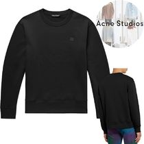 Acne Crew Neck Pullovers Long Sleeves Plain Cotton Sweatshirts