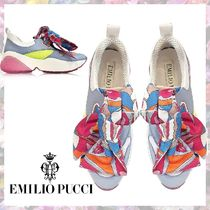 Emilio Pucci Round Toe Rubber Sole Casual Style Leather Low-Top Sneakers
