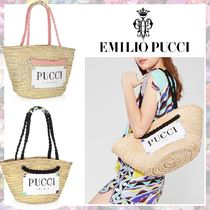 Emilio Pucci Blended Fabrics Plain Logo Straw Bags