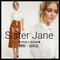 Sister Jane Flower Patterns Casual Style Puffed Sleeves Plain