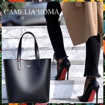 CAMELIA ROMA Bag in Bag A4 Plain Leather Office Style Totes