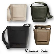 Massimo Dutti Casual Style Plain Leather Shoulder Bags
