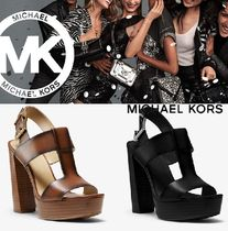 Michael Kors Open Toe Rubber Sole Casual Style Street Style Plain Leather