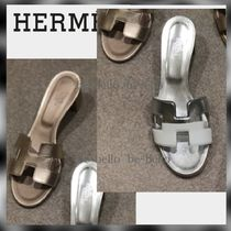 HERMES Open Toe Platform Casual Style Suede Leather Elegant Style