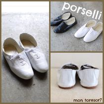 PORSELLI Round Toe Casual Style Plain Leather Office Style Flats