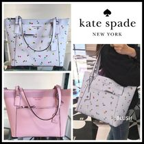 kate spade new york CAMERON STREET Flower Patterns Casual Style Saffiano A4 Plain Totes