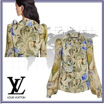 Louis Vuitton Silk Blended Fabrics Long Sleeves Elegant Style