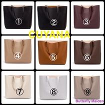 CUYANA A4 Plain Leather Office Style Elegant Style Totes