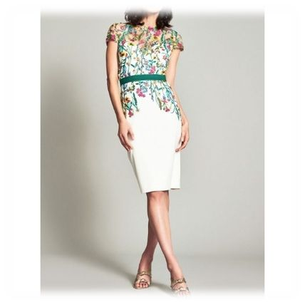 Short Flower Patterns Casual Style Tight U-Neck Boat Neck