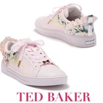 TED BAKER Flower Patterns Round Toe Rubber Sole Lace-up Street Style
