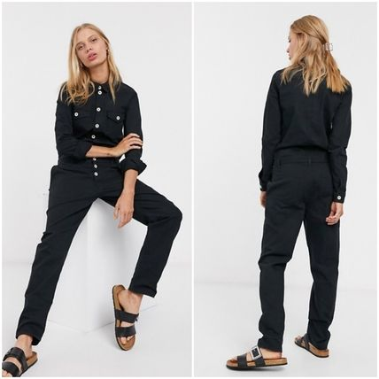 Dungarees Casual Style Long Sleeves Plain Long Elegant Style
