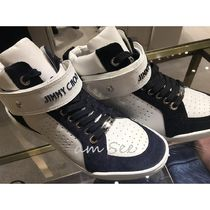 Jimmy Choo Studded Street Style Plain Leather Logo Sneakers