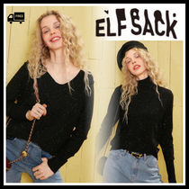 ELF SACK Casual Style Street Style V-Neck Long Sleeves Medium