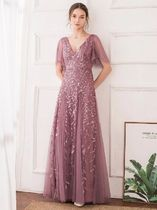 Ever-Pretty Flower Patterns Maxi A-line Blended Fabrics Flared V-Neck