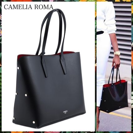Bag in Bag A4 Plain Leather Office Style Totes