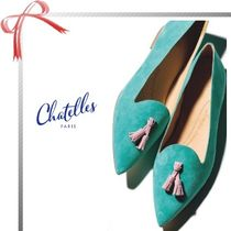 Chatelles Tassel Plain Elegant Style Pointed Toe Shoes