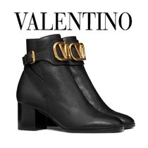 VALENTINO VLOGO Plain Toe Plain Leather Block Heels Party Style Office Style