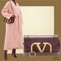 VALENTINO VLOGO Casual Style Plain Leather Party Style Office Style