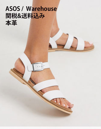 Open Toe Casual Style Street Style Plain Leather